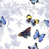 Květinové vzory s motýly. — Stock vektor