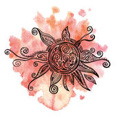 Ornamental sun with watercolor background — Stock Vector
