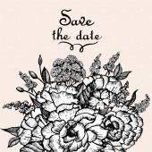Carte avec bouquet de fleurs — Vecteur
