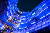 Illuminated Modern Building of BBC London Headquarters at Night, UK — Stock Photo