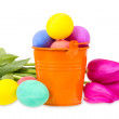 Bucket with Easter eggs and flowers — Stock Photo #64248923