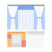 Flat colored curtains — Stock Vector