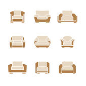 Set of stylish armchairs — Stock Vector