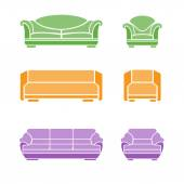 Set of sofas and armchairs — Stock Vector