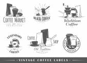 Set of vintage coffee labels — Stock Vector