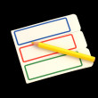 Stickers for records and a yellow pencil — Stock Photo #55594115