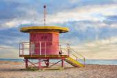Impressionist art of life guard station on South Beach — Stock Photo