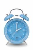 Blue alarm clock isolated on white — Stock Photo