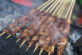 Delicious street food of Barbecued Lamb shish kebabs in Guilin — Stock Photo
