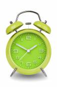 Green alarm clock with the hands at 10 and 2 — Stock Photo