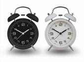 Two alarm clocks with the hands at 10 and 2 — Stock Photo