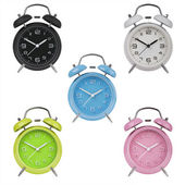 Five alarm clocks with the hands at 10 and 2 — Stock Photo
