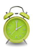 Green alarm clock with hands at 2 am or pm — Stock Photo