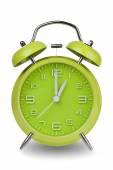 Green alarm clock with hands at 1 am or pm — Stock Photo