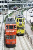 Double decker trams a favorite means of transpotation Hong Kong — Stock Photo
