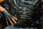 Hands in leather gloves — Foto de Stock