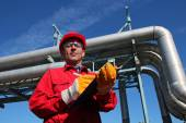 Oil Refinery Engineer and Pipelines — Stock Photo