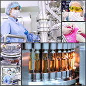Pharmaceutical Manufacturing Technology - Collage — Stock Photo