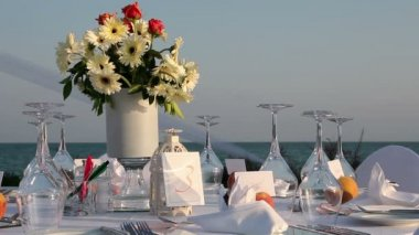 Table Setting at Wedding Reception — Stock Video