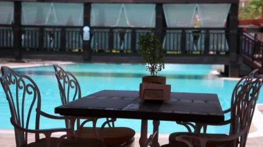 Table Setting at Pool — Stock Video