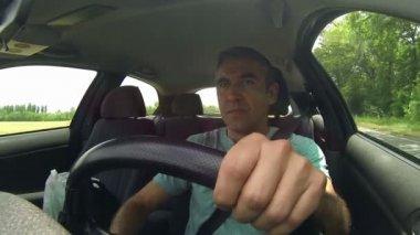 Man driving car on motorway — Stock Video