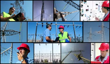 Electricity Distribution System with Workers — Stok video