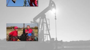 Oil drilling rig workers — Stock Video