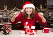 Thrilled woman during Christmas — Stock Photo