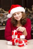 Woman during Christmas — Stock Photo