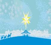 Biblical scene - birth of Jesus in Bethlehem.  — Stock Vector