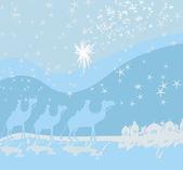 Classic three magic scene and shining star of Bethlehem  — Stock Vector