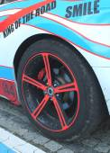 Close up of a car wheel with red brake  — Stock Photo