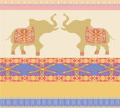 Oriental pattern with elephants — Stockvektor