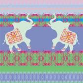 Oriental pattern with elephants — Wektor stockowy