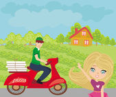 Pizza delivery man on a motorcycle  — Stock Vector