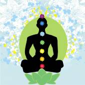 Yoga lotus pose. Padmasana with colored chakra points.  — Stock Vector