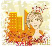 Autumn Sale girl, banner — Stock Vector