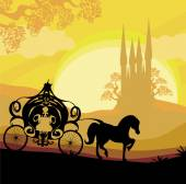 Silhouette of a horse carriage and a medieval castle  — Stock Vector