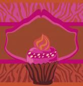 Vintage card with cupcake, zebra print — Stock Vector