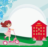 Girl rides a scooter near school — Stock Vector