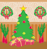 Living room at Christmas time.  — Stock Vector