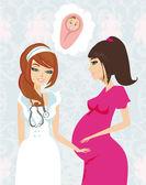 Hamile bir kadın doğum öncesi kontrole sahip çizimi — Stok Vektör