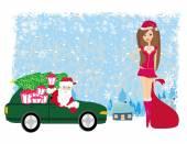 Santa Claus and beautiful woman — Stock Vector