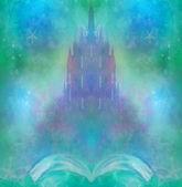 妖精の城、本から現われる物語の魔法の世界 — ストック写真