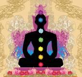 Yoga lotus pose. Padmasana with chakra points.  — Stock Vector