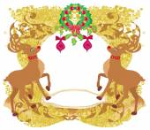 Reindeer Christmas card design — Stock Vector