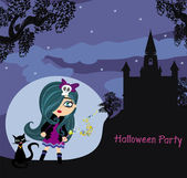Halloween invitation with beautiful witch and creepy castle  — Vector de stock