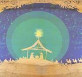 Biblical scene - birth of Jesus in Bethlehem.  — Stock Photo