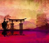 Geisha at sunset  — Stock Photo
