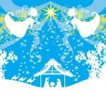 Biblical scene - birth of Jesus in Bethlehem. — Stock Vector #55257927
